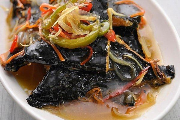 Vegetarian Black Pomfret Fish in Sweet & Sour Sauce